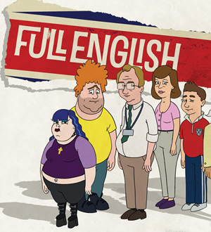 Full English. Image shows from L to R: Eve, Dusty, Edgar, Wendy, Jason. Copyright: Two Brothers Pictures.