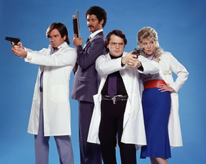 Garth Marenghi's Darkplace. Image shows from L to R: Todd Rivers / Dr. Lucien Sanchez (Matt Berry), Dean Learner / Thornton Reed (Richard Ayoade), Garth Marenghi / Dr. Rick Dagless M.D. (Matthew Holness), Madeleine Wool / Dr. Liz Asher (Alice Lowe). Image credit: Avalon Television.