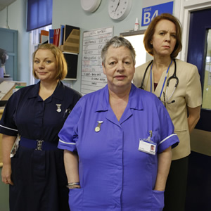 Getting On. Image shows from L to R: Sister Den Flixter (Joanna Scanlan), Nurse Kim Wilde (Jo Brand), Doctor Pippa Moore (Vicki Pepperdine). Image credit: Vera Productions.