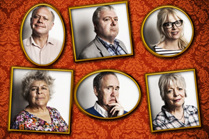 Gloomsbury. Image shows from L to R: Henry Mickleton (Jonathan Coy), Vera Sackcloth-Vest (Miriam Margolyes), DH Lollipop (John Sessions), Lionel Fox (Nigel Planer), Venus Traduces (Morwenna Banks), Ginny Fox (Alison Steadman). Copyright: Little Brother Productions.