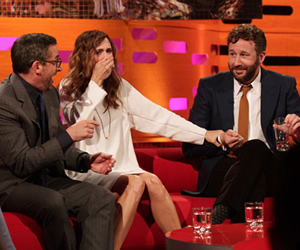 The Graham Norton Show. Image shows from L to R: Steve Carell, Kristen Wiig, Chris O'Dowd. Copyright: So Television.