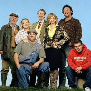 The Green Green Grass. Image shows from L to R: Elgin Sparrowhawk (David Ross), Imelda Cakeworthy (Ella Kenion), Jed (Peter Heppelthwaite), Boycie (John Challis), Marlene Boyce (Sue Holderness), Bryan (Ivan Kaye), Tyler Boyce (Jack Doolan). Image credit: Shazam Productions.