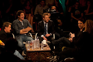 The Green Room. Image shows from L to R: Eddie Izzard, Paul Provenza, Chris Hardwick, Jimmy Carr, Tim Minchin.