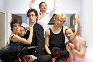 Green Wing. Image shows from L to R: Caroline Todd (Tamsin Greig), Martin Dear (Karl Theobald), Guy Secretan (Stephen Mangan), Sue White (Michelle Gomez), Mac Macartney (Julian Rhind-Tutt), Alan Statham (Mark Heap). Image credit: Talkback Productions.