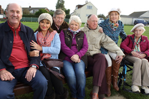 Boomers. Image shows from L to R: John (Russ Abbot), Maureen (Stephanie Beacham), Alan (Philip Jackson), Joyce (Alison Steadman), Trevor (James Smith), Carol (Paula Wilcox), Joan (June Whitfield). Copyright: Hat Trick Productions.