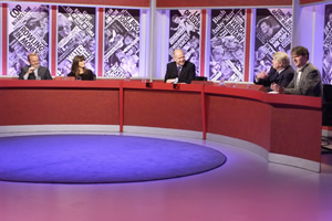 Have I Got News For You. Image shows from L to R: Ian Hislop, Claudia Winkleman, William Hague, Stanley Johnson, Paul Merton. Copyright: BBC / Hat Trick Productions.
