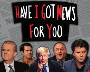 Have I Got News For You. Image shows from L to R: Ian Hislop, Jimmy Carr, Boris Johnson, Dara O Briain, Paul Merton. Copyright: BBC / Hat Trick Productions.