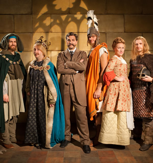 Horrible Histories. Image shows from L to R: Mathew Baynton, Jim Howick, Ben Willbond, Simon Farnaby, Martha Howe-Douglas, Laurence Rickard. Image credit: Lion Television.