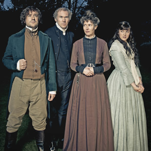 Hunderby. Image shows from L to R: Dr Foggerty (Rufus Jones), Edmund (Alex Macqueen), Dorothy (Julia Davis), Helene (Alexandra Roach). Copyright: Baby Cow Productions.