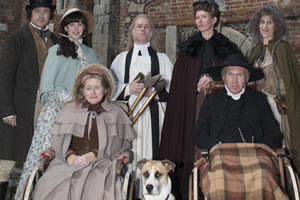 Hunderby. Image shows from L to R: Dr Foggerty (Rufus Jones), Helene (Alexandra Roach), Hesther (Rosie Cavaliero), Pastor John (Reece Shearsmith), Dorothy (Julia Davis), Edmund (Alex Macqueen), Biddy Ritherfoot (Jane Stanness). Copyright: Baby Cow Productions.