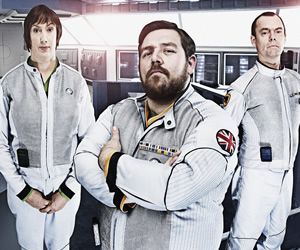 Hyperdrive. Image shows from L to R: Diplomatic Officer Teal (Miranda Hart), Commander Henderson (Nick Frost), First Officer York (Kevin Eldon).