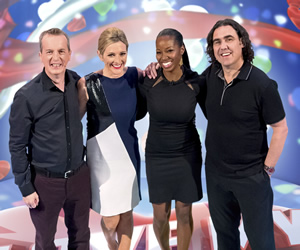 I Love My Country. Image shows from L to R: Frank Skinner, Gabby Logan, Jamelia, Micky Flanagan. Image credit: Avalon Television.