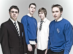 The Inbetweeners. Image shows from L to R: Will Mackenzie (Simon Bird), Neil Sutherland (Blake Harrison), Jay Cartwright (James Buckley), Simon Cooper (Joe Thomas). Copyright: Bwark Productions.