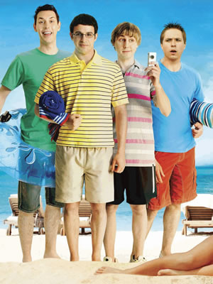 The Inbetweeners Movie. Image shows from L to R: Neil Sutherland (Blake Harrison), Will MacKenzie (Simon Bird), Jay Cartwright (James Buckley), Simon Cooper (Joe Thomas). Copyright: Bwark Productions.
