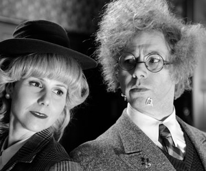 Reece Shearsmith 'The Case Of The High Foot'. Image shows from L to R: Sally Phillips, Reece Shearsmith.