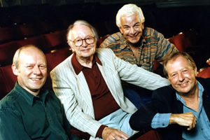 I'm Sorry I Haven't A Clue. Image shows from L to R: Graeme Garden, Humphrey Lyttelton, Barry Cryer, Tim Brooke-Taylor. Copyright: BBC.