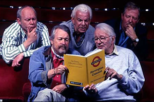 I'm Sorry I Haven't A Clue. Image shows from L to R: Graeme Garden, William Rushton, Barry Cryer, Humphrey Lyttelton, Tim Brooke-Taylor. Copyright: BBC.