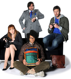 The IT Crowd. Image shows from L to R: Jen (Katherine Parkinson), Douglas Reynholm (Matt Berry), Moss (Richard Ayoade), Roy (Chris O'Dowd). Image credit: TalkbackThames.