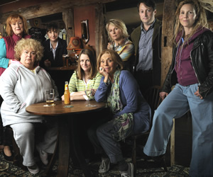 Jam & Jerusalem. Image shows from L to R: Eileen Pike (Maggie Steed), Rosie Bales (Dawn French), Tip Haddam (Pauline McLynn), Kate Bales (Rosie Cavaliero), Sal Vine (Sue Johnston), Caroline Martin (Jennifer Saunders), Dr James Vine (David Mitchell), Tash Vine (Sally Phillips). Copyright: BBC.