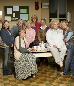 Jam & Jerusalem. Image shows from L to R: Kate Bales (Rosie Cavaliero), Caroline Martin (Jennifer Saunders), Queenie (Doreen Mantle), Susie (Suzy Aitchison), Eileen Pike (Maggie Steed), Tip Haddam (Pauline McLynn), Rosie Bales (Dawn French), Sal Vine (Sue Johnston). Copyright: BBC.