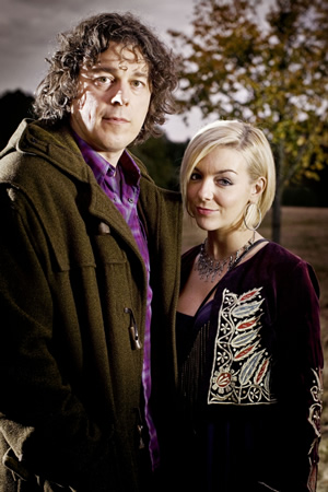 Jonathan Creek. Image shows from L to R: Jonathan Creek (Alan Davies), Joey Ross (Sheridan Smith). Image credit: British Broadcasting Corporation.