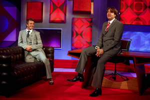 Friday Night With Jonathan Ross. Image shows from L to R: David Beckham, Jonathan Ross. Copyright: Hot Sauce.