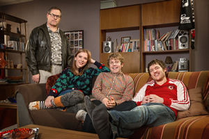 Josh. Image shows from L to R: Geoff (Jack Dee), Kate (Beattie Edmondson), Josh (Josh Widdicombe), Owen (Elis James). Copyright: BBC.