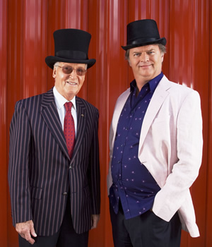 Just A Minute. Image shows from L to R: Nicholas Parsons, Paul Merton. Copyright: BBC.