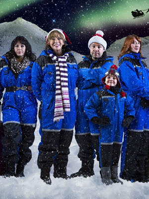 Being Eileen. Image shows from L to R: Mandy Lewis (Julie Graham), Eileen Lewis (Sue Johnston), Pete Lewis (Stephen Graham), Liam Cooper (Ellis Murphy), Paula Cooper (Elizabeth Berrington). Image credit: British Broadcasting Corporation.