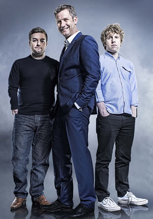 The Last Leg. Image shows from L to R: Alex Brooker, Adam Hills, Josh Widdicombe. Image credit: Open Mike Productions.