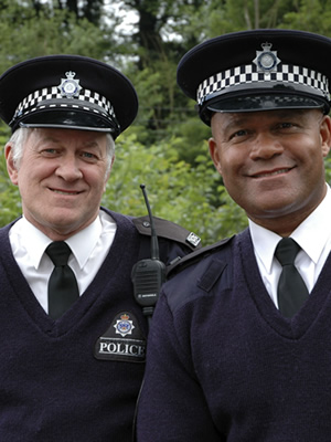 Last Of The Summer Wine. Image shows from L to R: PC Cooper (Ken Kitson), PC Walsh (Louis Emerick). Copyright: BBC.