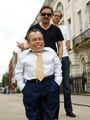 Life's Too Short. Image shows from L to R: Warwick (Warwick Davis), Ricky (Ricky Gervais), Stephen (Stephen Merchant). Copyright: BBC.