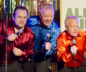 Life's Too Short. Image shows from L to R: Shaun Williamson, Les Dennis, Keith Chegwin. Copyright: BBC.