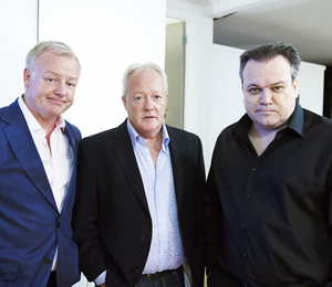 Life's Too Short. Image shows from L to R: Les Dennis, Keith Chegwin, Shaun Williamson. Image credit: British Broadcasting Corporation.