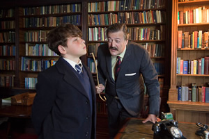 Little Crackers. Image shows from L to R: Fry (Daniel Roche), Headmaster (Stephen Fry).