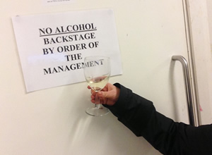 Lucy Porter being naughty. No alcohol backstage!.