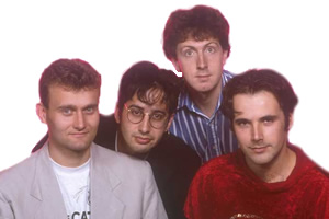 The Mary Whitehouse Experience. Image shows from L to R: Hugh Dennis, David Baddiel, Steve Punt, Rob Newman. Copyright: BBC.