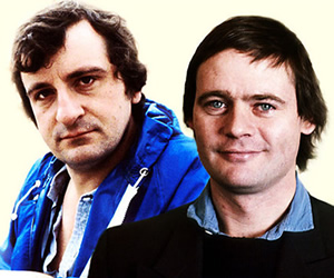 The Meaning Of Liff At 30. Image shows from L to R: Douglas Adams, John Lloyd. Copyright: BBC.