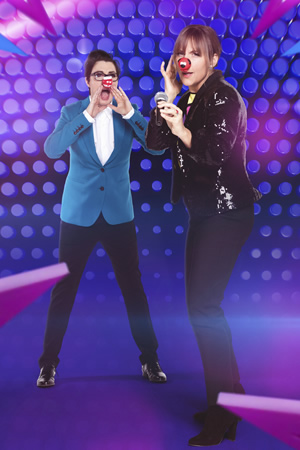 Mel & Sue - Let's Sing And Dance For Comic Relief. Image shows from L to R: Sue Perkins, Mel Giedroyc. Copyright: BBC.