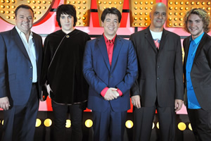 Michael McIntyre's Comedy Roadshow. Image shows from L to R: Hal Cruttenden, Noel Fielding, Michael McIntyre, Mike Gunn, Seann Walsh. Copyright: Open Mike Productions.