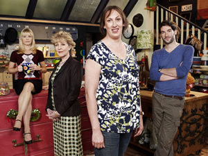 Miranda. Image shows from L to R: Stevie (Sarah Hadland), Penny (Patricia Hodge), Miranda (Miranda Hart), Gary (Tom Ellis). Copyright: BBC.