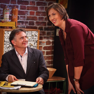 Miranda. Image shows from L to R: Raymond Blanc, Miranda (Miranda Hart). Image credit: British Broadcasting Corporation.