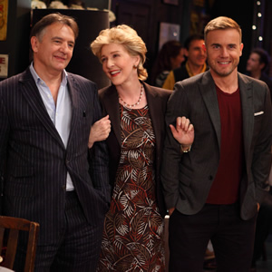 Miranda. Image shows from L to R: Raymond Blanc, Penny (Patricia Hodge), Gary Barlow. Image credit: British Broadcasting Corporation.