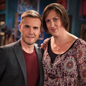 Miranda. Image shows from L to R: Gary Barlow, Miranda (Miranda Hart). Image credit: British Broadcasting Corporation.