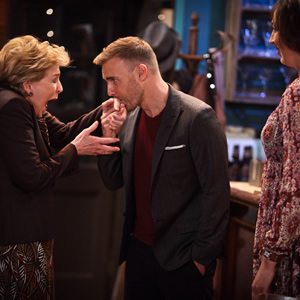 Miranda. Image shows from L to R: Penny (Patricia Hodge), Gary Barlow, Miranda (Miranda Hart). Image credit: British Broadcasting Corporation.