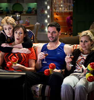 Miranda. Image shows from L to R: Penny (Patricia Hodge), Miranda (Miranda Hart), Gary (Tom Ellis), Tilly (Sally Phillips). Image credit: British Broadcasting Corporation.