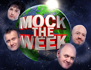 Mock The Week. Image shows from L to R: Hugh Dennis, Chris Addison, Andy Parsons, Dara O Briain. Copyright: Angst Productions.