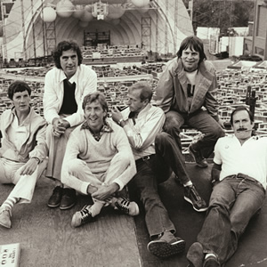 Monty Python Live At The Hollywood Bowl. Image shows from L to R: Michael Palin, Terry Jones, Eric Idle, Graham Chapman, Terry Gilliam, John Cleese.
