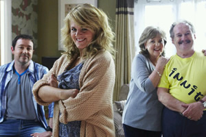 Mount Pleasant. Image shows from L to R: Dan Johnson (Daniel Ryan), Lisa Johnson (Sally Lindsay), Sue (Pauline Collins), Barry Harris (Bobby Ball). Copyright: Tiger Aspect Productions.