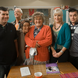 Mrs. Brown's Boys. Image shows from L to R: Dermot Brown (Paddy Houlihan), Rory Brown (Rory Cowan), Winnie McGoogan (Eilish O'Carroll), Agnes Brown (Brendan O'Carroll), Cathy Brown (Jennifer Gibney), Buster Brady (Danny O'Carroll). Copyright: BBC / BocPix.